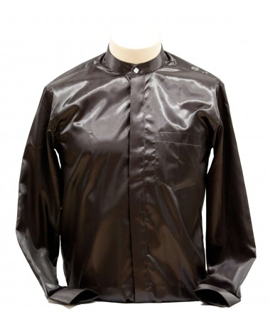 AUM DESIGN BLACK BAN COLLARED SHIRT WITH CRYSTAL BUTTON