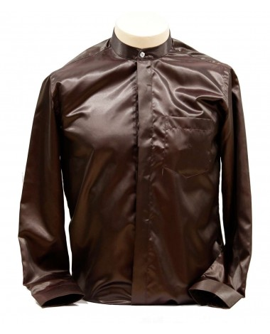 AUM DESIGN MAROON SHIRT WITH CRYSTAL BUTTON