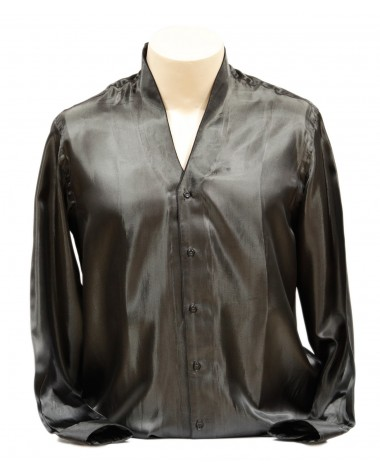 AUM DESIGN BLACK SHINING STABDING COLLARED SHIRT