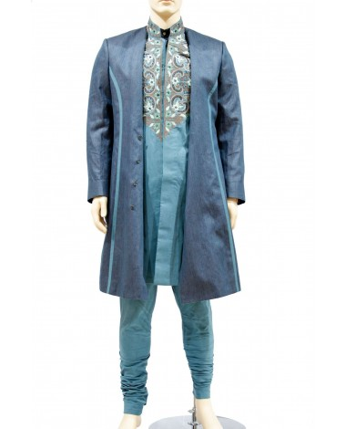 AUM DESIGN 3 PIECE KNEE LENGTH OCCASION WEAR OUTFIT WITH EMBROIDERED KURTA & JACKET WITH TROUSER