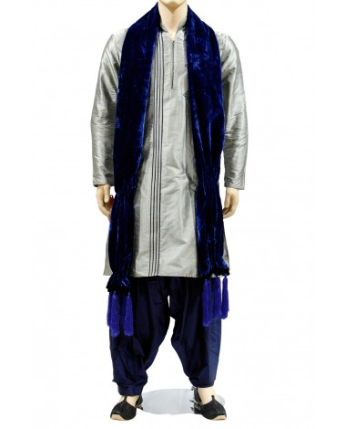 AUM DESIGN GRAY KURTA EMBROIDERED BLUE PYJAMA WITH STOLE