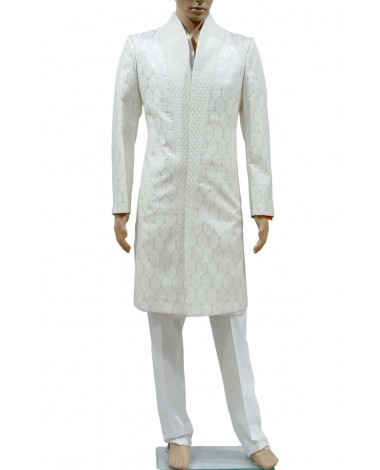 AUM DESIGN WHITE LUXURIOUS INDOWESTERN KNEE LENGTH OUTFIT WITH TROUSER & KURTA