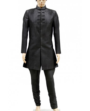 AUM DESIGN MEN'S BLACK MICRO VELVET LUXURIOUS INDO WESTERN SHERWANI