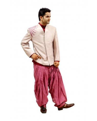 AUM DESIGN PINK CONTEMPORARY JODHPURI SUIT WITH PINK PATIALA SALWAR