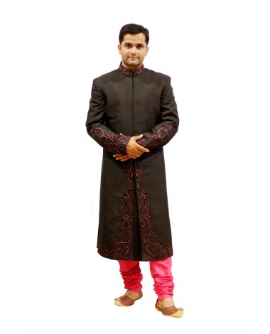 AUM DESIGN BLACK VIVACIOUS COLOUR CONTEMPORARY SHERWANI