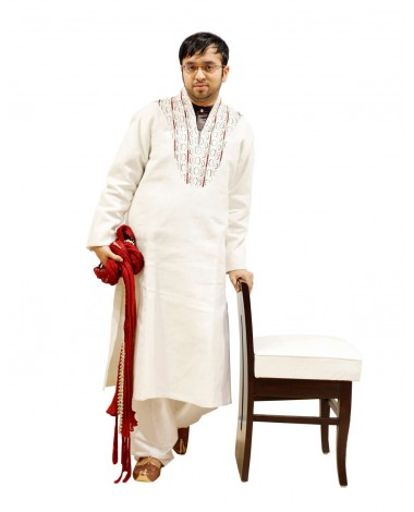 AUM DESIGN WHITE ADAPTED PHULKARI KURTA WITH EMBROIDERED WHITE SALWAR