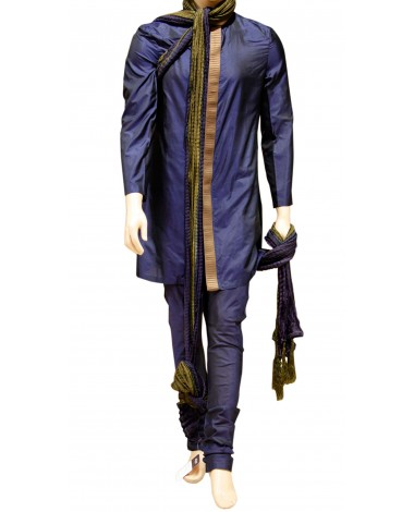 AUM DESIGN BLUE CONTEMPORARY KURTA PYJAMA WITH CHUDIDAAR PAYJAMA