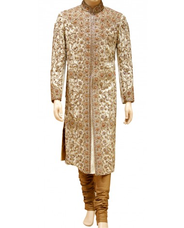 AUM DESIGN BEIGE EXCLUSIVE EMBROIDERED SHERWANI