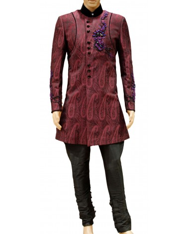 AUM DESIGN EMBROIDERED LIGHT MAROON OUTFIT SHERWANI