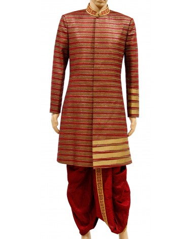 AUM DESIGN MULTICOLOR MAROON AND GOLDEN SHERWANI AND PANNELED INDOWESTERN OUTFIT DHOTI