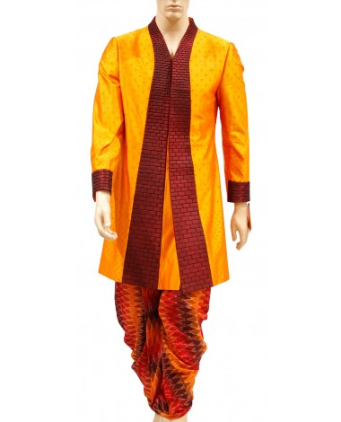 AUM DESIGN ORANGE BRICKED SHERWANI AND INDOWESTERN OUTFI DHOTI