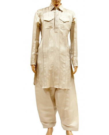 AUM DESIGN CREAM CONTEMPORARY KURTA PYJAMA
