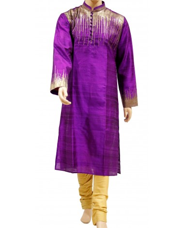AUM DESIGN PURPLE SEQUINED KURTA WITH YELLOW CONTEMPORARY PYJAMA