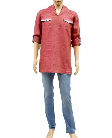 AUM DESIGN RED TRENDY KURTA PYJAMA