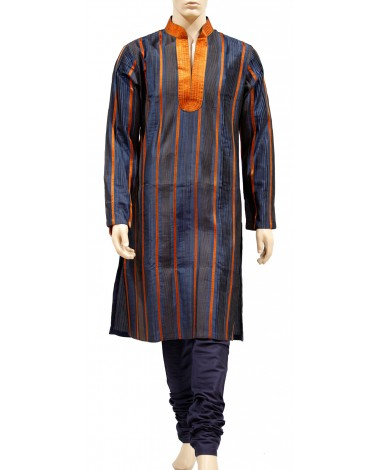 AUM DESIGN PURE SILK BLUE NIFTY PAIR KURTA WITH PYJAMA