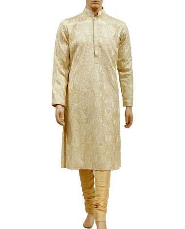 AUM DESIGN GOLDEN BEIGE DECENT KURTA WITH SILK GOLDEN PYJAMA