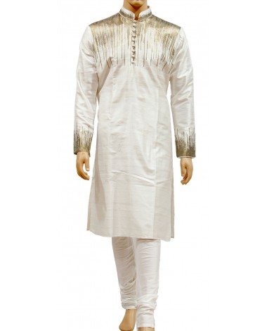 AUM DESIGN WHITE DECENT KURTA WITH PURE WHITE PYJAMA