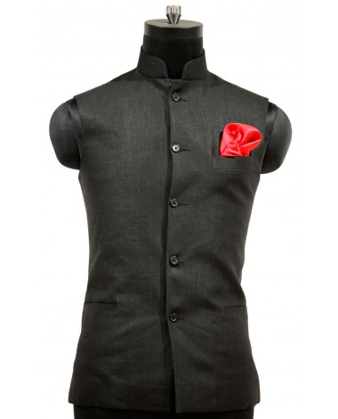 AUM DESIGN BLACK JAWAHAR WAIST COAT