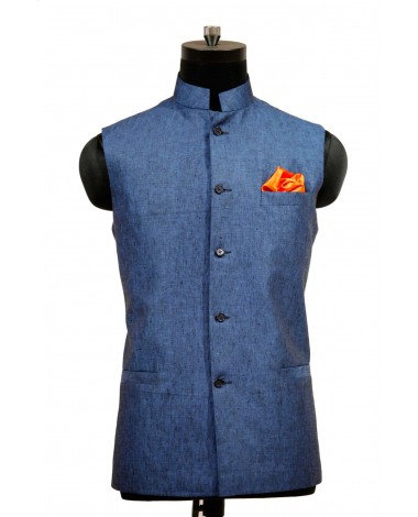 AUM DESIGN BLUE JAWAHAR WAIST COAT