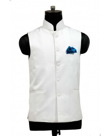AUM DESIGN WHITE JAWAHAR WAIST COAT