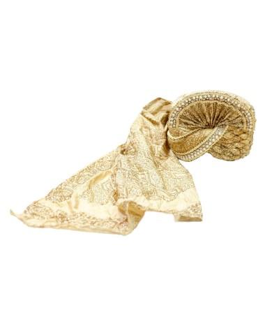 AUM DESIGN EMBROIDERED PRINTED SHINING GOLDEN SAFA
