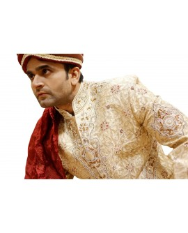 AUM DESIGN GOLDEN TRADITIONAL MAHARAJA ACHKAN SHERWANI