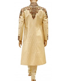 AUM DESIGN CREAM LUXURIOUS SHERWANI WITH PAYJAMA IN WONDERFUL COLOUR SCHEME