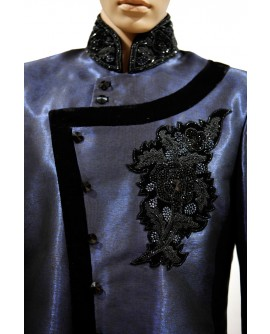 AUM DESIGN MEN'S BLUE AND BLACK STYLISH INDO WESTERN SHERWANI