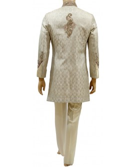 AUM MEN'S ROYAL BROCADE INDO WESTERN WHITE SHERWANI