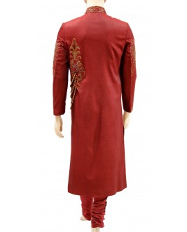 AUM DESIGN MAROON EXCLUSIVE SHERWANI WITH FRENCH KNOTS, ZARDOZI & CRYSTAL BEADS