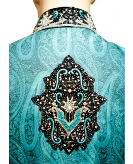 AUM DESIGN TURQUOISE OUTFIT WITH CRYSTALS SHERWANI
