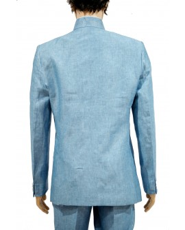 AUM DESIGN TARQUES SASSY STYLE EMBROIDERED BLUE SUIT