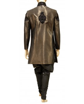 AUM DESIGN MEN'S BROWN BROCADE INDO WESTERN SHERWANI