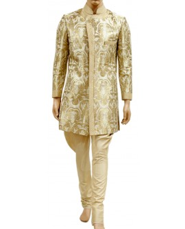 AUM DESIGN MEN'S KIN KHAB LUXURIOUS INDO WESTERN GOLDEN SHERWANI