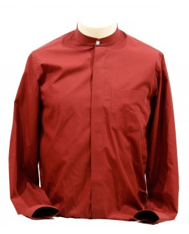 AUM DESIGN MAROON SHIRT BAN COLLARED