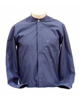 AUM DESIGN BLUE BAN COLLARED SHIRT WITH CRYSTAL BUTTON