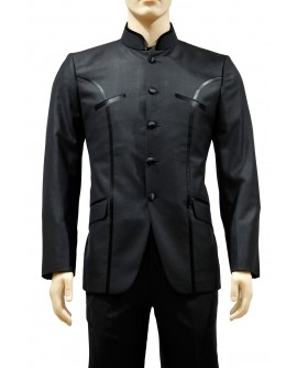 AUM DESIGN BLACK 2 PIECE MANDARIN COLLARED SUIT