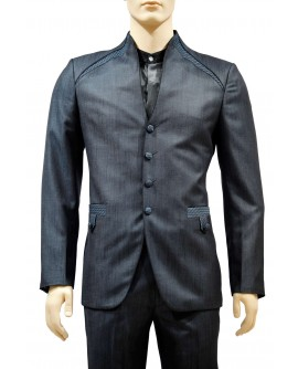 AUM DESIGN BLUE 2 PIECE TRENDY STANDING NECK SUIT