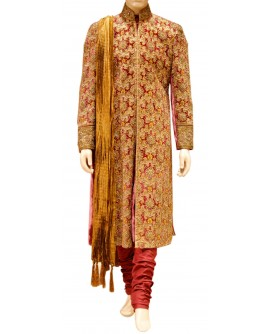 AUM DESIGN FULLY EMBROIDERED ROYAL VELVET GOLDEN SHERWANI
