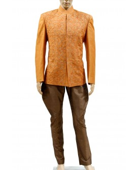 AUM DESIGN ORANGE EMBROIDERED JODHPURI SUIT WITH BROWN TROUSER