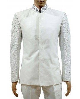 AUM DESIGN OFF WHITE LIGHT WESTERN EMBROIDERED JODHPURI WITH NARROW FIT TROUSER