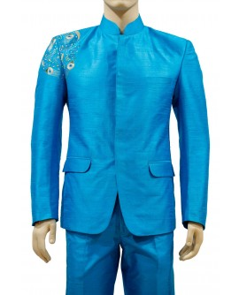 AUM DESIGN BLUE HAND EMBROIDERED JODHPURI SUIT WITH LIGHT BLUE TROUSER