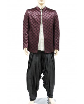 AUM DESIGN MAROON LUXURIOS JODHPURI SUIT WITH BLACK PATIALA SALWAR