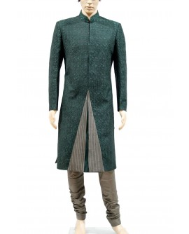 AUM DESIGN GREEN EMERALD EXCLUSIVE SHERWANI WITH PAYJAMA