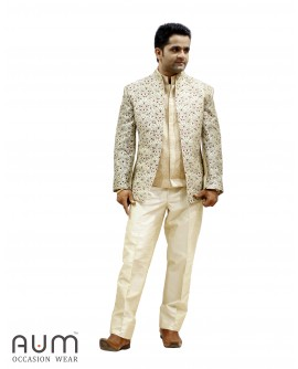 AUM DESIGN GOLDEN FULL EMBROIDERED JACKET WITH GOLDEN JAWAHAR WAIST COAT