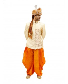 AUM DESIGN ORANGE LIGHT EMBROIDERED JODHPURI LIGHT SUIT WITH ORANGE COMPLIMENTING DHOTI