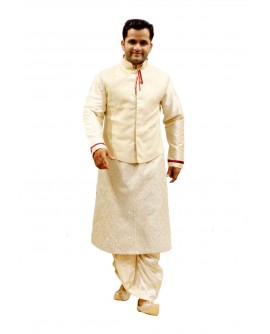 AUM DESIGN BEIGE INDO WESTERN OUTFIT JACKET WITH FULLY EMBROIDERED KURTA PAYJAMA