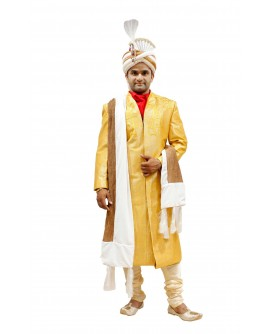 AUM DESIGN FUSION WEAR SHERWANI WITH A BOLD OUT LOOK, USES BRIGHT YELLOW AS COLOR BOARD