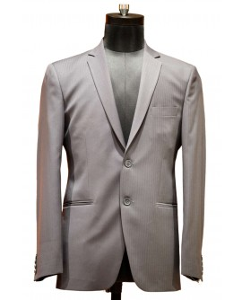 AUM DESIGN LIGHT GRAY PINNED STRIPED BLAZER