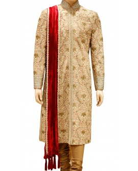 AUM DESIGN BEIGE BROWN CONVENTIONAL SHERWANI